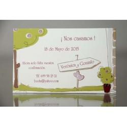 Tarjeta complemento invitación de boda Houttuynia