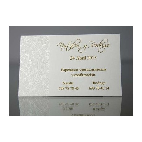 Tarjeta complemento invitación de boda Lavandín