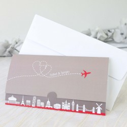 Invitacion de boda travel a lot gris