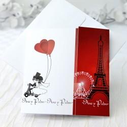 Invitacion de boda corazones paris