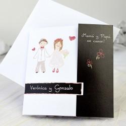 Invitacion de boda novios corazon