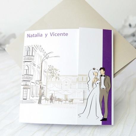 Invitacion de boda novios ciudad