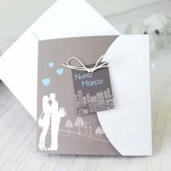 Invitacion de boda pareja corazones