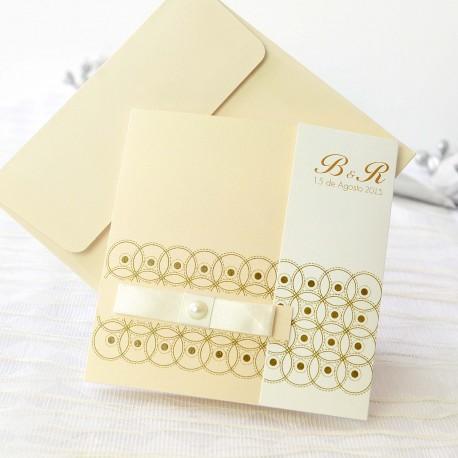 Invitacion de boda decoracion simetrica pastel