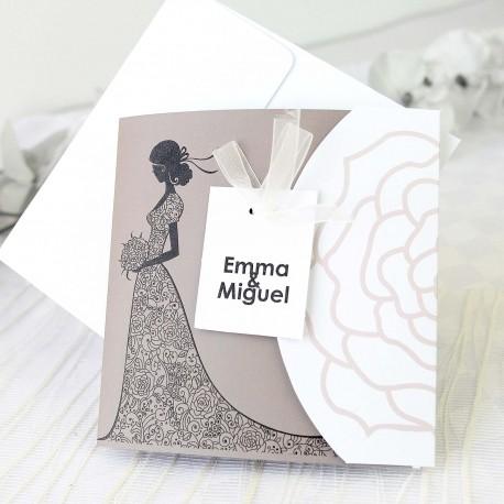 Invitacion de boda novia vestido gris
