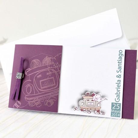 Invitacion de boda novios coche vino