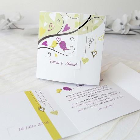 Invitacion de boda pajaros rama