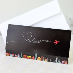 Invitacion de boda travel a lot elegante