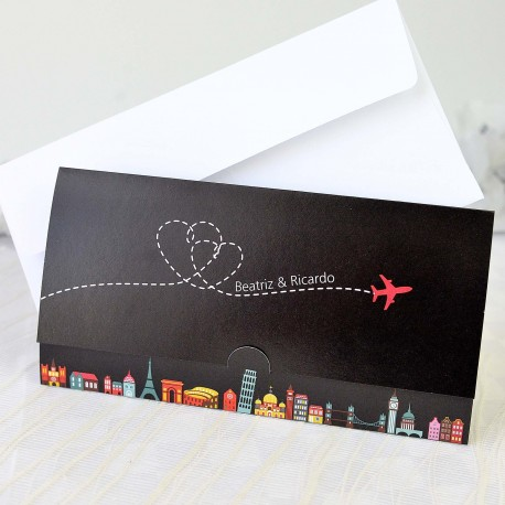 Invitacion de boda travel a lot elegante