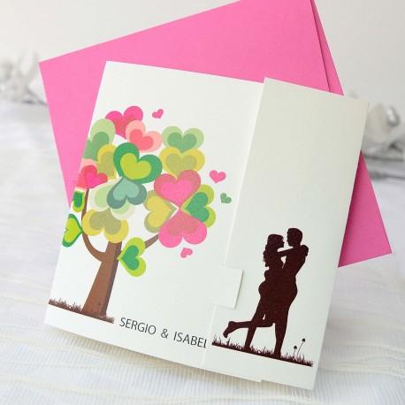 Invitacion de boda novios arbol