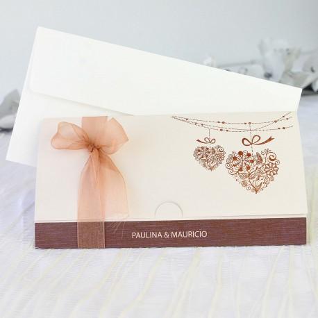 Invitacion de boda lazo organza