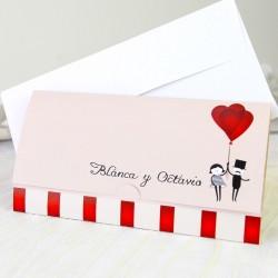 Invitacion de boda novios globos