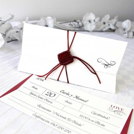 Invitacion de boda tarjeta lacre