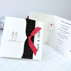 Invitacion de boda lazo rojo topos