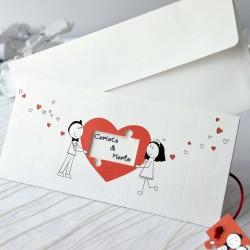 Invitacion de boda corazon troquel