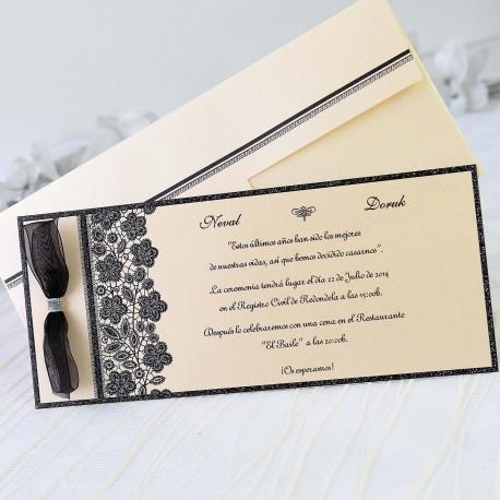 Invitacion de boda lazo negro elegante