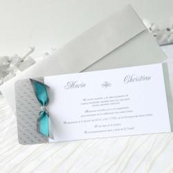 Invitacion de boda lazo azul