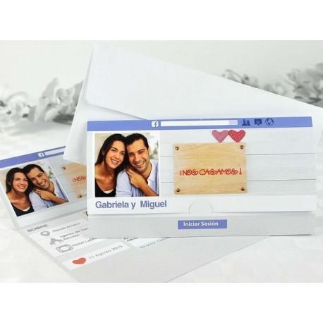 Invitación de boda novios foto