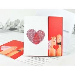 Invitación de boda dedos huellas