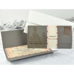 Invitación de boda carta postal