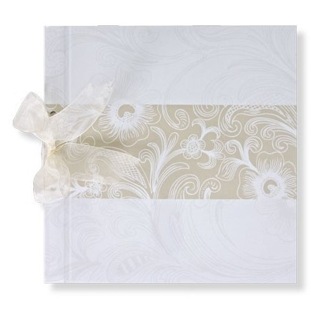 Libro firmas lazo tribal blanco flores