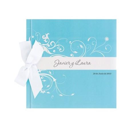 Libro de firmas boda lazo detalle azul