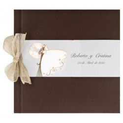 Libro de firmas boda lazo marron