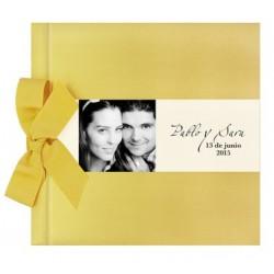 Libro de firmas boda lazo oro brillo