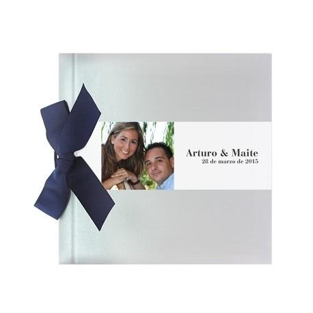 Libro de firmas boda lazo plata brillo