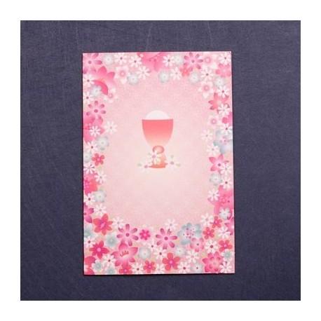 Portafoto comunión caliz de flores rosas