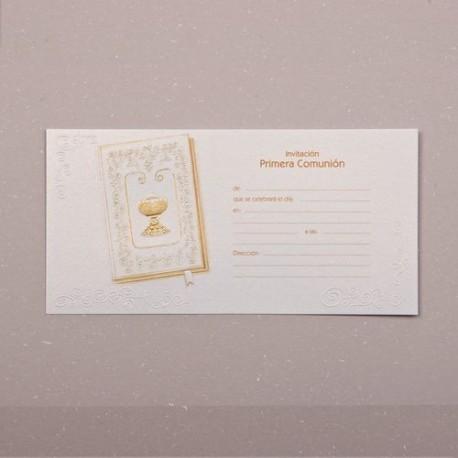 Invitación comunión caliz dorado