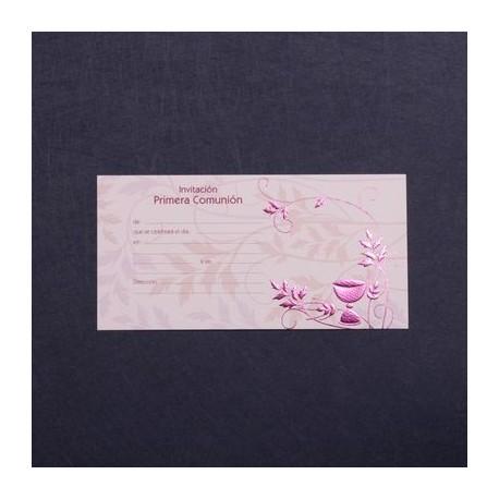 Invitación comunión ramas caliz rosa