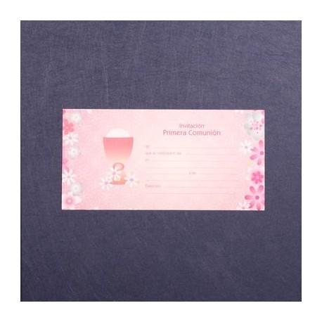 Invitación comunión caliz flores rosa