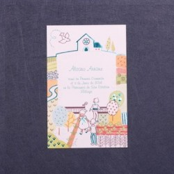 Estampa comunión iglesia y campo azul