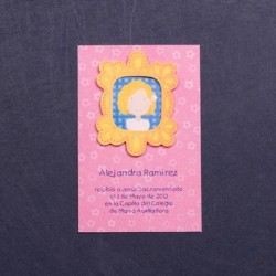Estampa comunión marco nina rosa