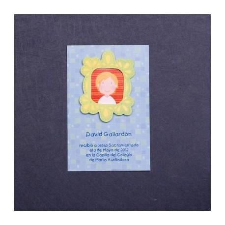 Estampa comunión marco nino azul