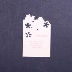 Estampa comunión blanca flores