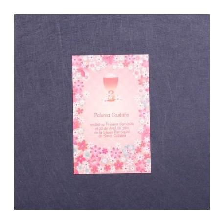 Estampa comunión caliz flores rosa