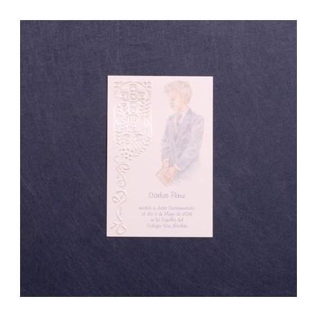 Estampa comunión nino chaqueta azul
