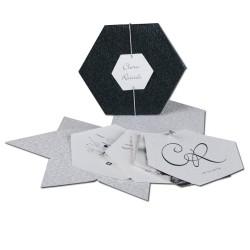 Invitación de boda hexagono negro