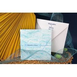Invitacion de boda azul mar