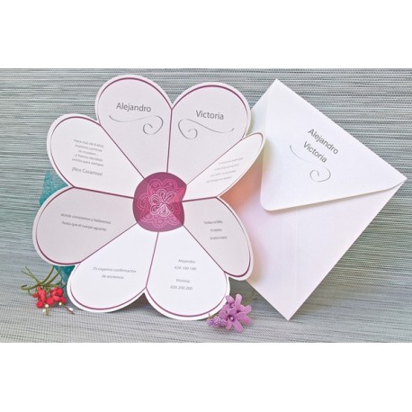 Invitacion de boda corazon colores