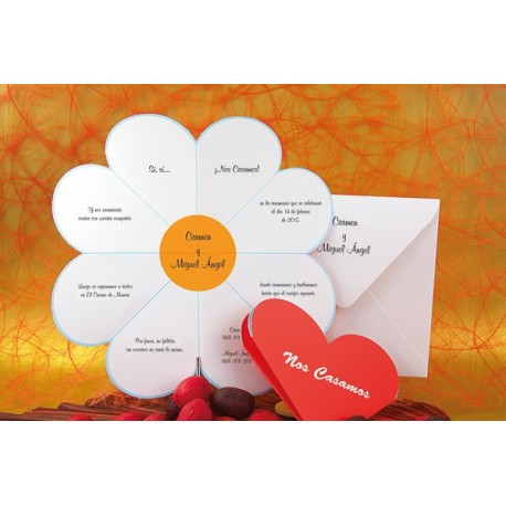 Invitacion de boda corazon margarita