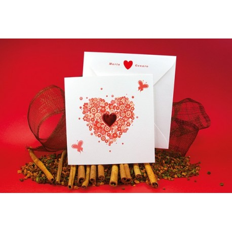Invitacion de boda corazon mariposas