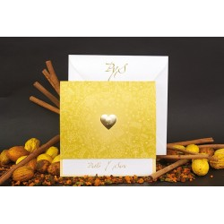 Invitacion de boda corazon oro