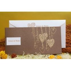 Invitacion de boda corazones oro