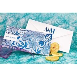 Invitacion de boda flores azul y plata