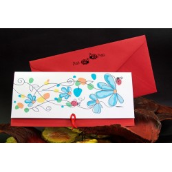 Invitacion de boda flores mariquita