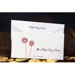 Invitacion de boda flores rojo
