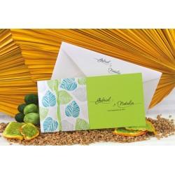 Invitacion de boda hojas verde